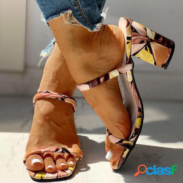 Mujer colorful tacón grueso de moda con punta abierta sandalias