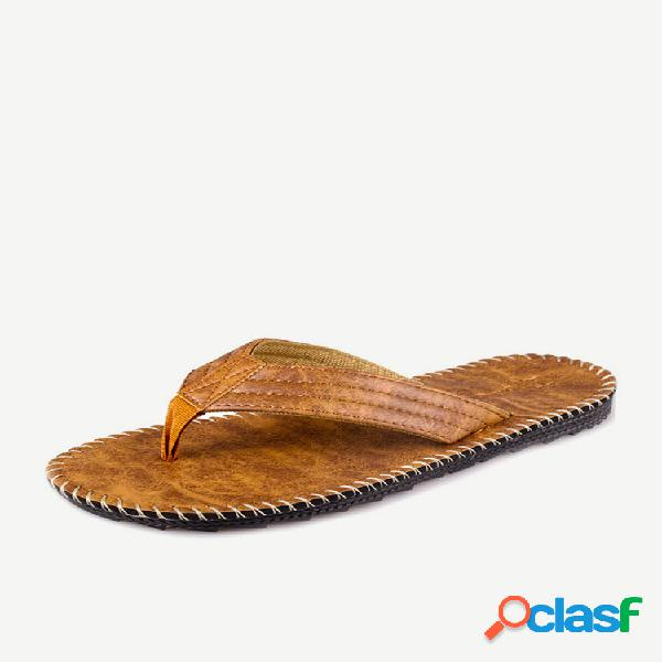 Chanclas antideslizantes de piel sintética para hombre zapatillas
