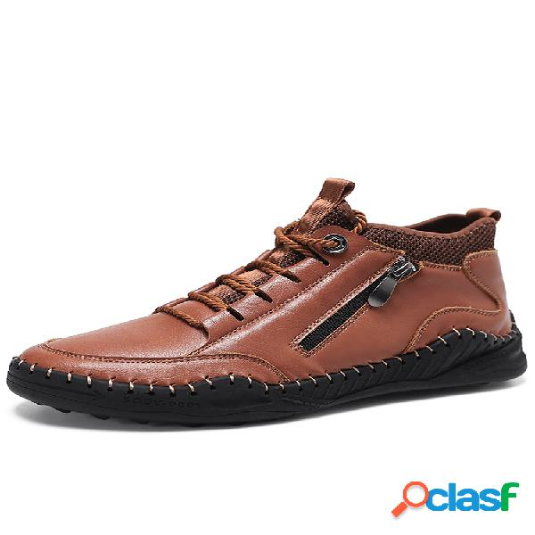 Costura a mano con estilo para hombres soft tobillo con cremallera lateral con cordones botas