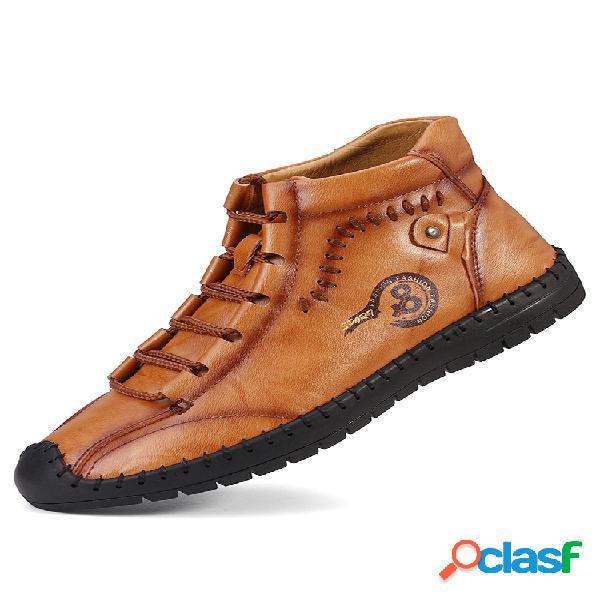 Costura a mano para hombre soft tobillo de cuero antideslizante botas