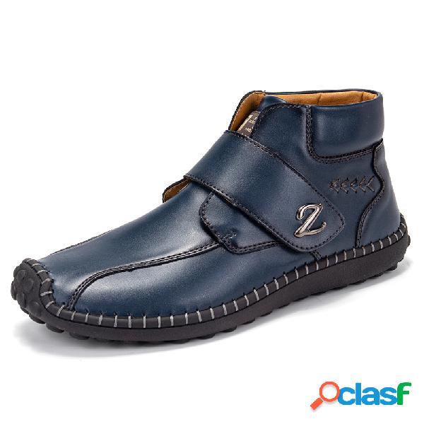 Costura a mano para hombre gancho bucle de cuero soft tobillo botas