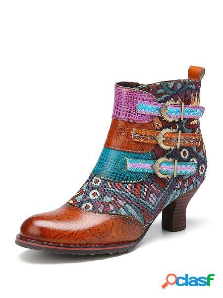 Socofy estampado en bloques de color piel genuina empalme cómodo con cremallera tobillo usable botas