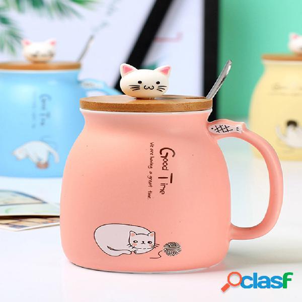 500ml cerámico taza de café lovely gato patrón taza de agua con tapa