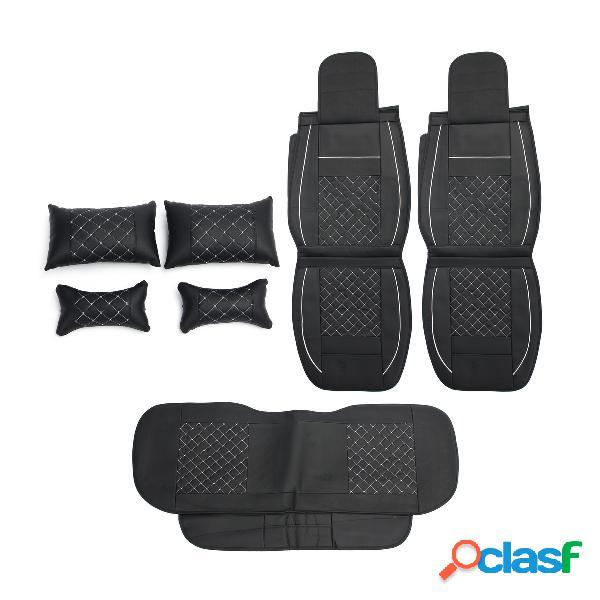 7pcs pu cuero coche protector de funda de asiento con almohada juego de cojín de cintura para 5 asientos coches universal