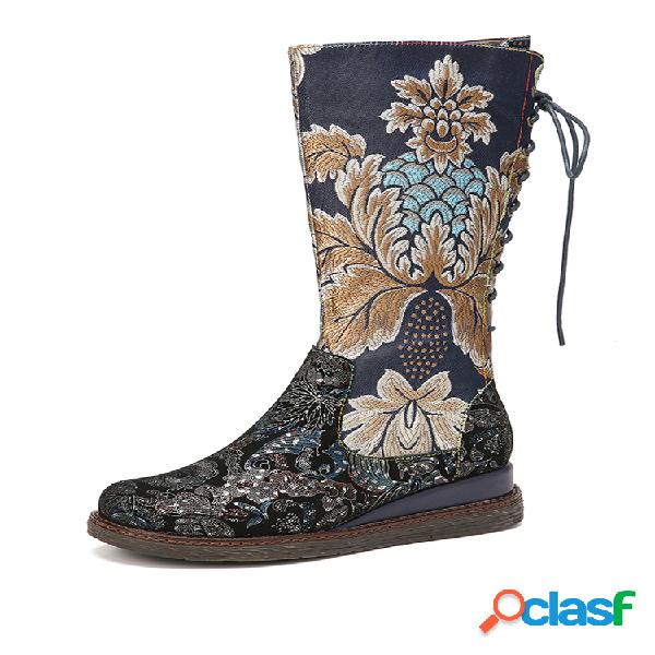 Socofy vendimia bordado de flores forro cálido cordones cremallera plataforma cuñas media pantorrilla botas
