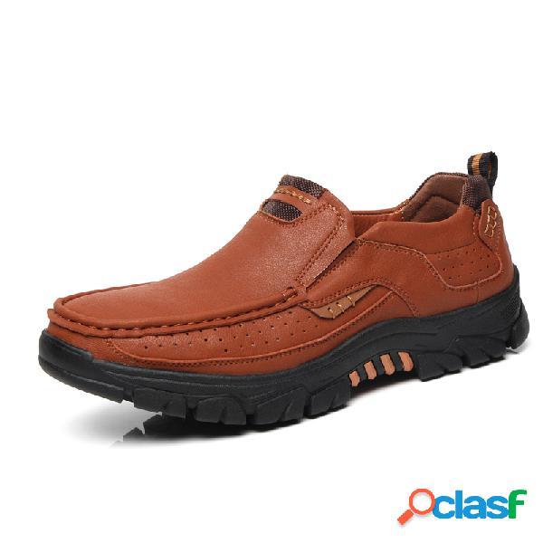 Hombre cuero de microfibra antideslizante casual al aire libre zapatos casuales