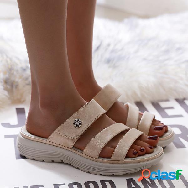 Mujer gancho punta abierta con lazo playa diapositiva zapatillas
