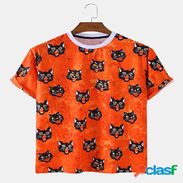 Mens fun gato print holiday camiseta de manga corta