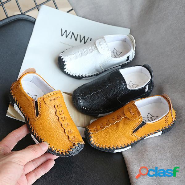 Mocasines de mano antideslizantes para niños soft slip casual con mocasines de cuero