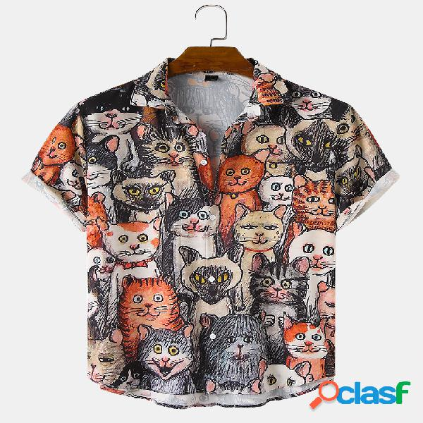 Mens halloween allover funny gato print casual loose fit camisas de manga corta