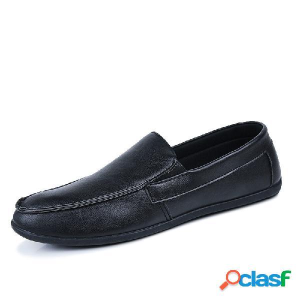 Mocasines antideslizantes de cuero de microfibra para hombre zapatos de conducción casuales