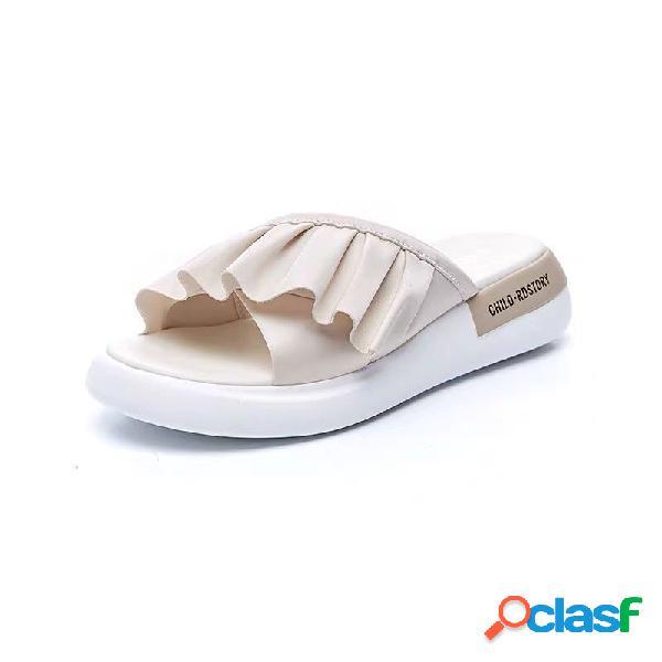 Mujer diario soft punta abierta antideslizante zapatillas