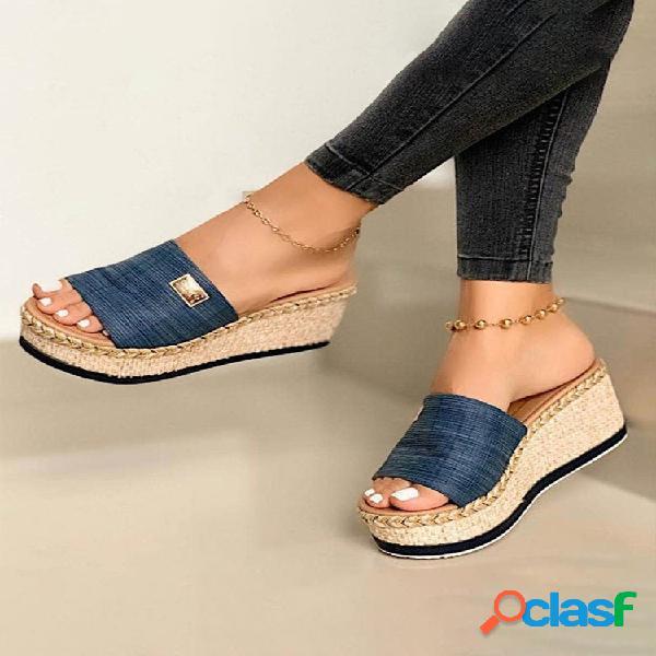 Plataforma de alpargatas con punta abierta de color sólido informal de talla grande zapatillas