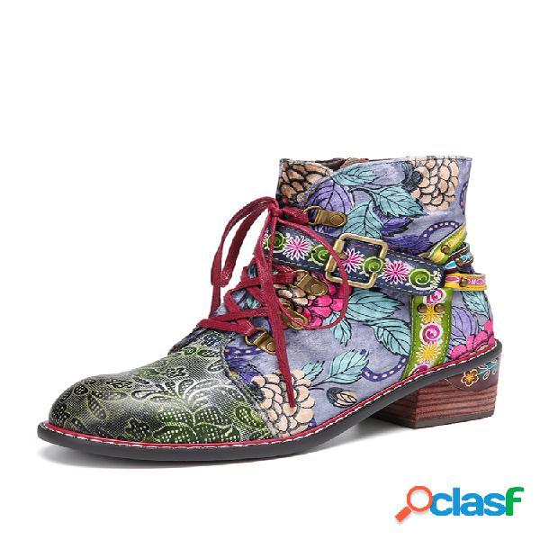Socofy tela floral estampado cuero empalme hebilla correa decoración cómodo cremallera lateral tobillo botas