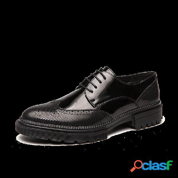 Hombres de cuero de microfibra antideslizante zapatos formales casuales brogue de negocios