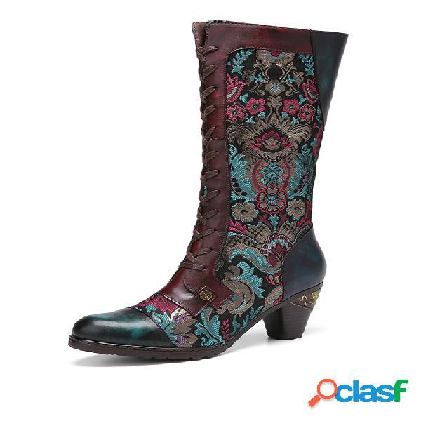 Socofy flores bordado empalme piel genuina cómodo cremallera lateral tacón corto mitad de la pantorrilla botas