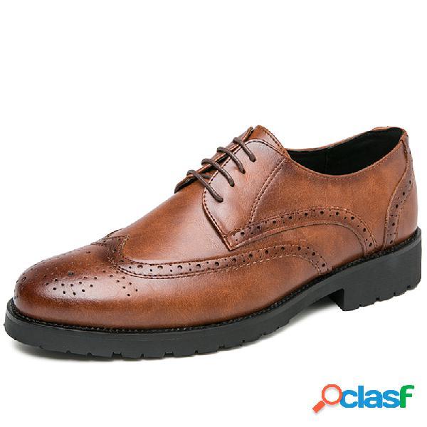 Hombres brogue cuero de microfibra antideslizante retro casual vestido zapatos