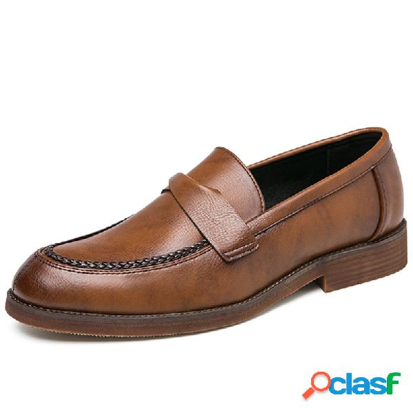 Los hombres de cuero de microfibra antideslizante retro slip on casual vestido zapatos