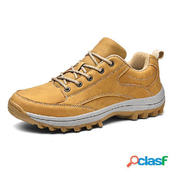 Hombre piel de microfibra antideslizante soft suela al aire libre zapatos de senderismo