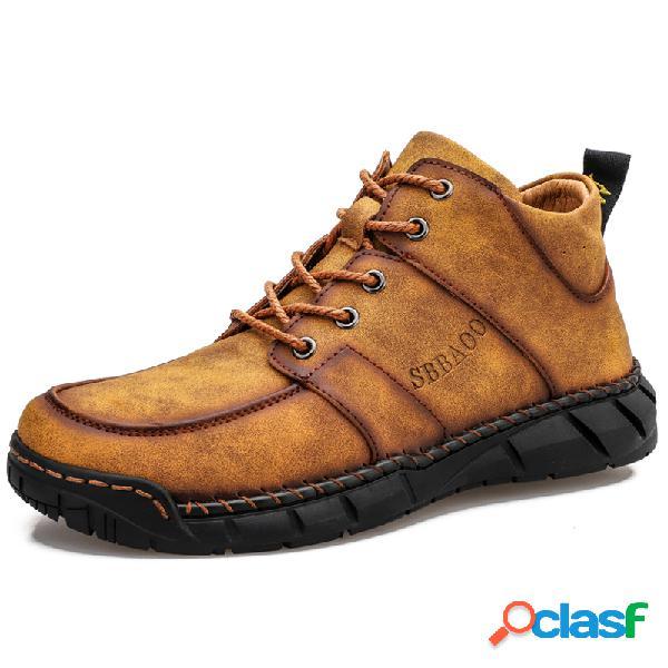 Hombre piel microfibra antideslizante soft suela al aire libre casual tobillo botas