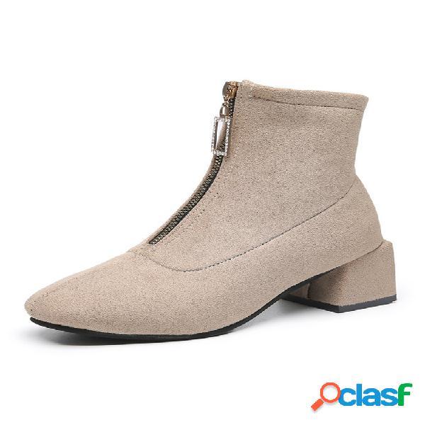Cremallera para mujer, pantorrilla corta botas, punta redonda, ante, tacón bajo, tobillo botas