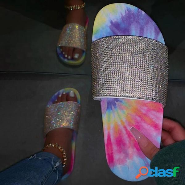 Mujer casual playa con lentejuelas colorful punta abierta antideslizante zapatillas