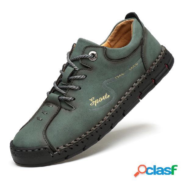 Zapatos casuales de cuero de microfibra con costuras de punta de goma para hombres