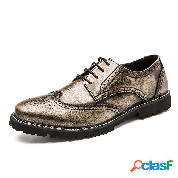 Hombres brogue cuero de microfibra antideslizante elegante casual vestido zapatos
