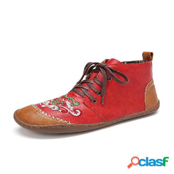 Lostisy mujer soft tobillo de cuero bordado tribal bordado a mano botas