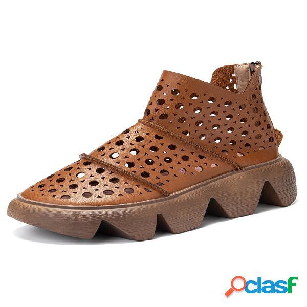 Mujer plus talla cómodo hueco transpirable plataforma casual cremallera tobillo botas