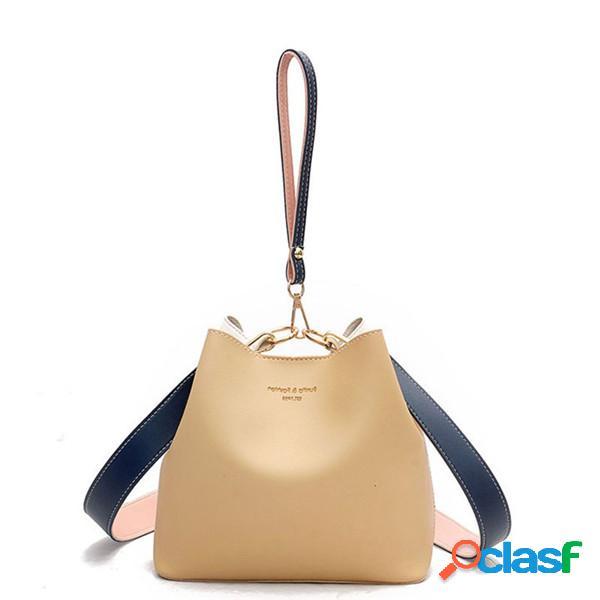 Mujer contraste cubo bolsa pu cuero casual bolso ocio crossbody bolsa