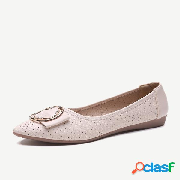 Sandalias zapatos planos de cuero para mujer de una sola temporada zapatos pequeños con lazo salvaje hueco soft zapatos de mujer de fondo poco profundo