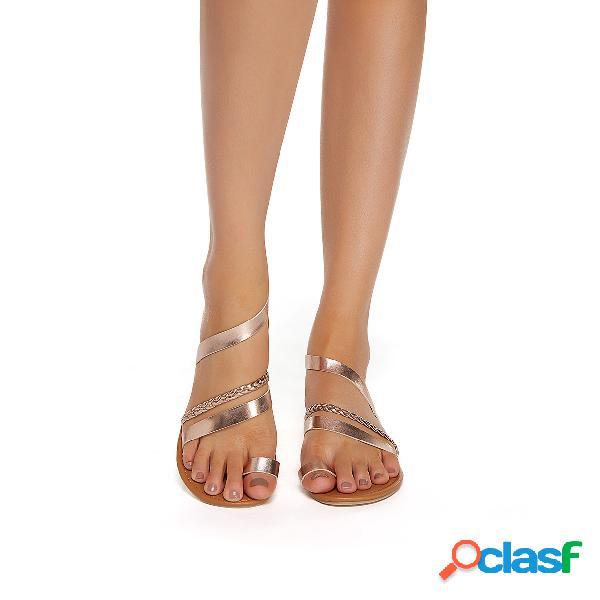 Sandalias de playa de punta abierta de oro