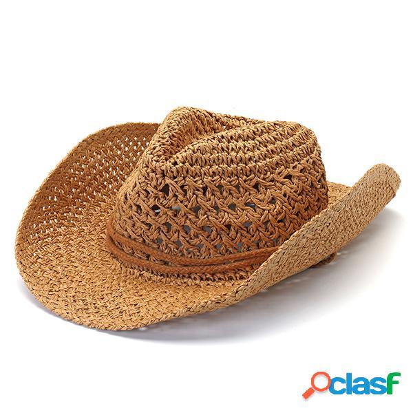 Para mujer para hombre verano protector solar plegable rizado redondo cubo de paja gorro pescador sombrero vacaciones playa sombrero