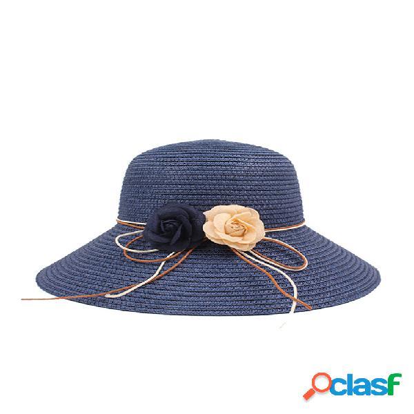 Mujer verano color sólido plegable playa paja sombrero al aire libre sombrilla pescador sombrero
