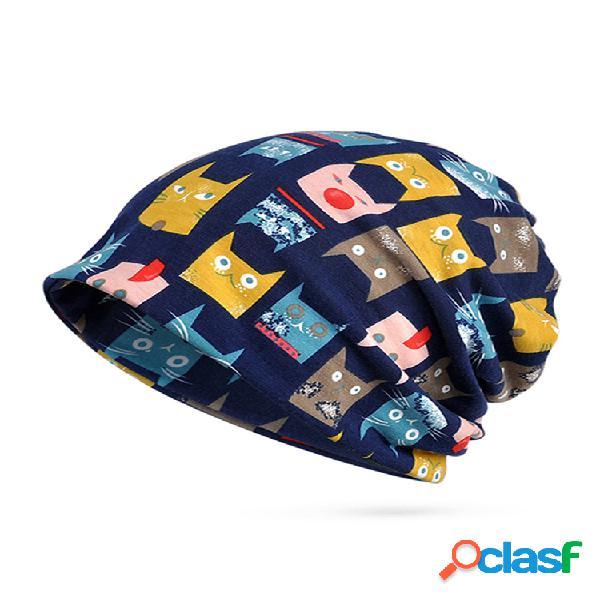 Mujer invierno gato patrón algodón beanie cap bufanda terciopelo grueso cálido slouchy skullies bonnet sombrero