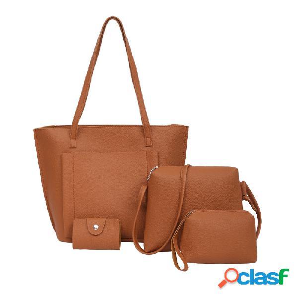 Mujer bolso de cuero pu set 4 piezas totalizador sólido bolsa