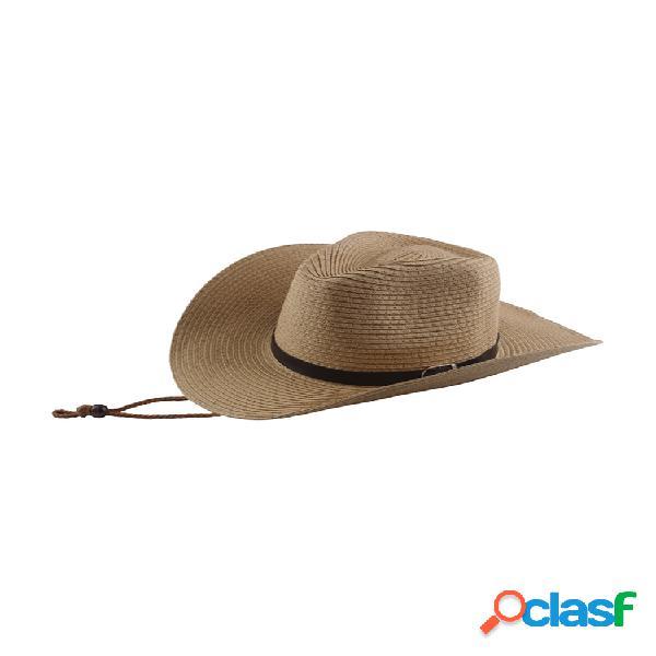 Paja ancha sombrero cinturón hebilla hombre verano protección solar sombrero plegable