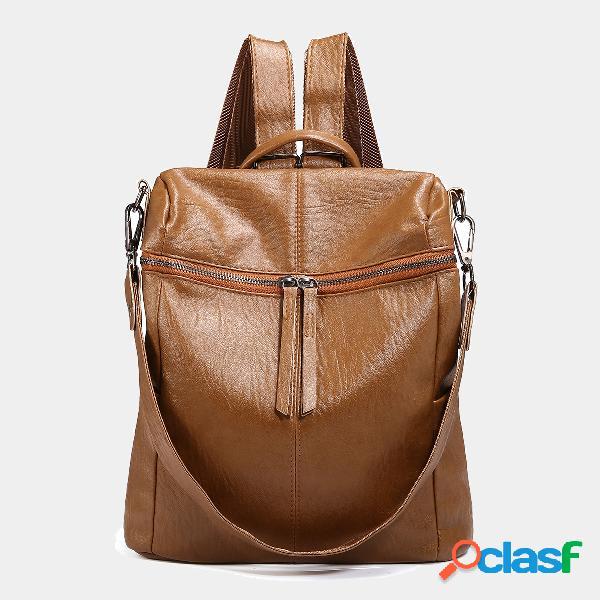 Mujer anti robo mochila monedero hombro bolsa mochila sólida
