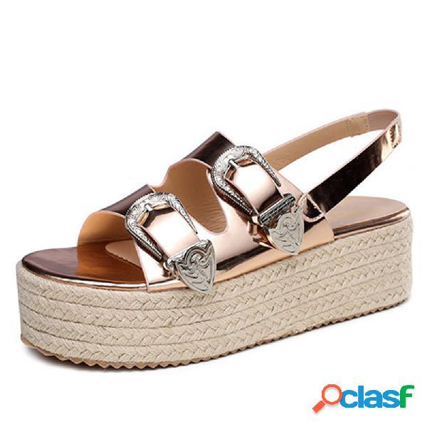 Mujer verano playa zapatos hebilla decoración alpargatas plataforma sandalias