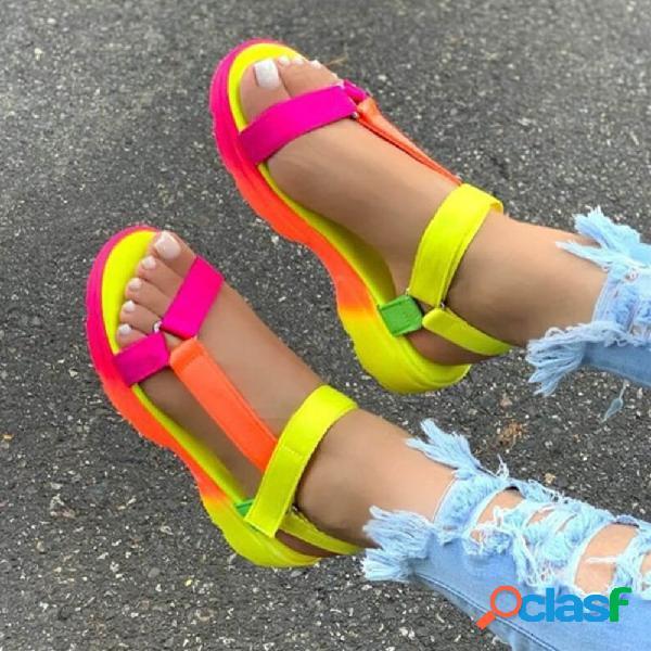 Talla grande mujer punta abierta diaria soft con tiras gancho bucle plano sandalias
