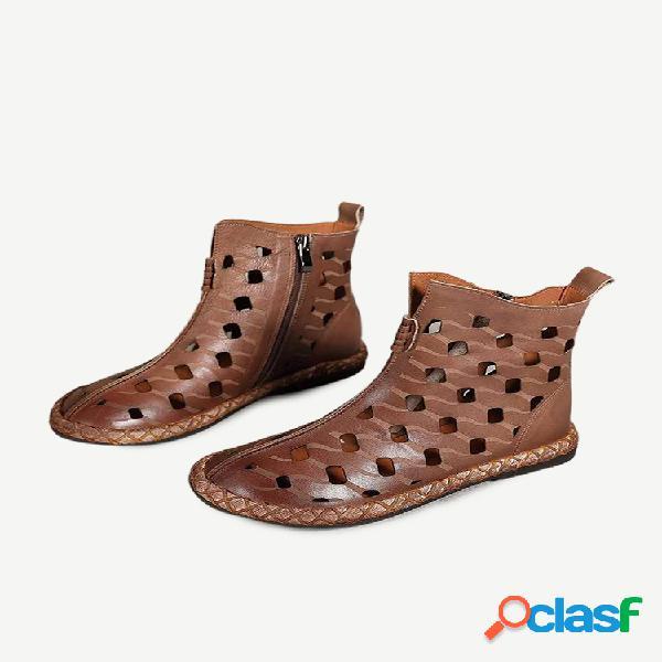 Mujer retro soft tobillo plano con cremallera ahuecada transpirable verano botas
