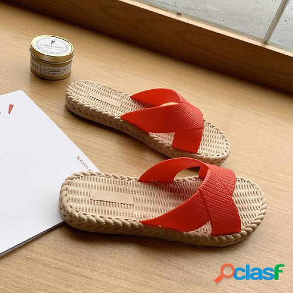 Mujer diapositiva de punta abierta ligera casual zapatillas
