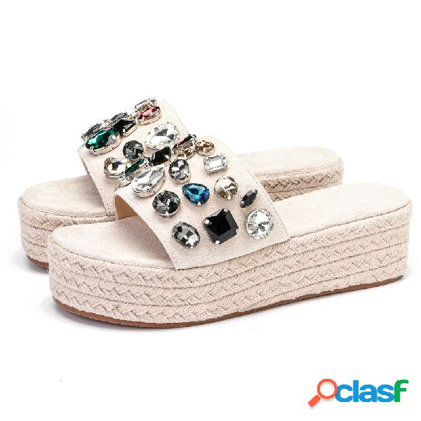 Mujer plataforma de alpargatas de diamantes de imitación de punta abierta informal zapatillas