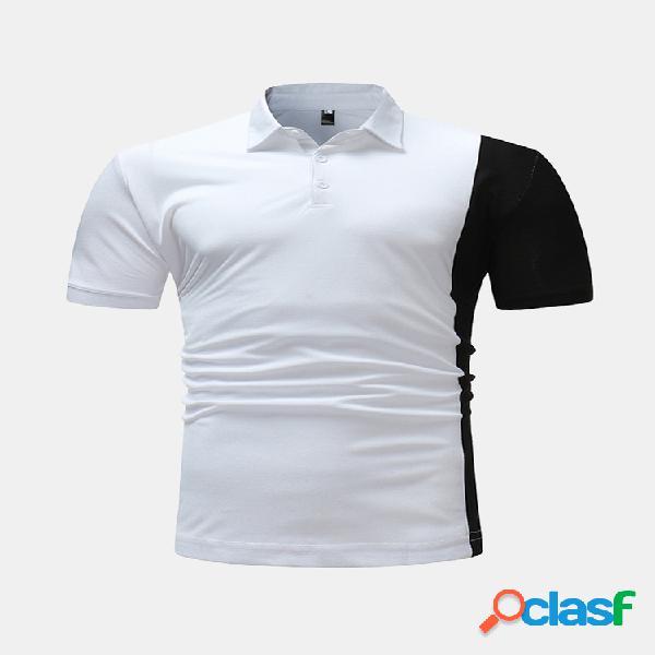 Hombre verano hit color patchwork manga corta cuello vuelto delgado fit golf camisa