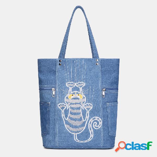 Mujer cute gato patrón bolsos de gran capacidad de hombro de ocio bolsa