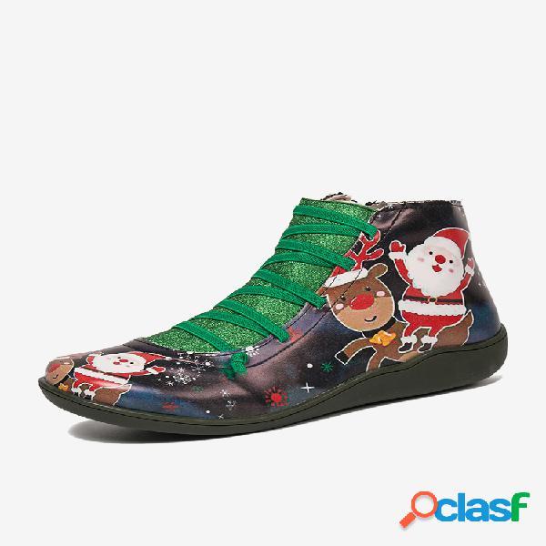 Navidad patrón comodidad empalme cremallera tobillo casual botas para mujer