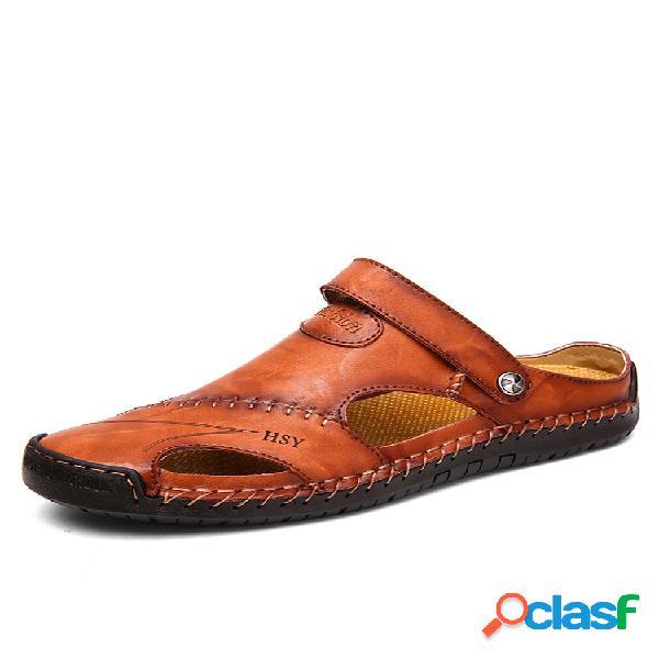 Menico hombre costuras a mano soft al aire libre piel con punta cerrada sandalias