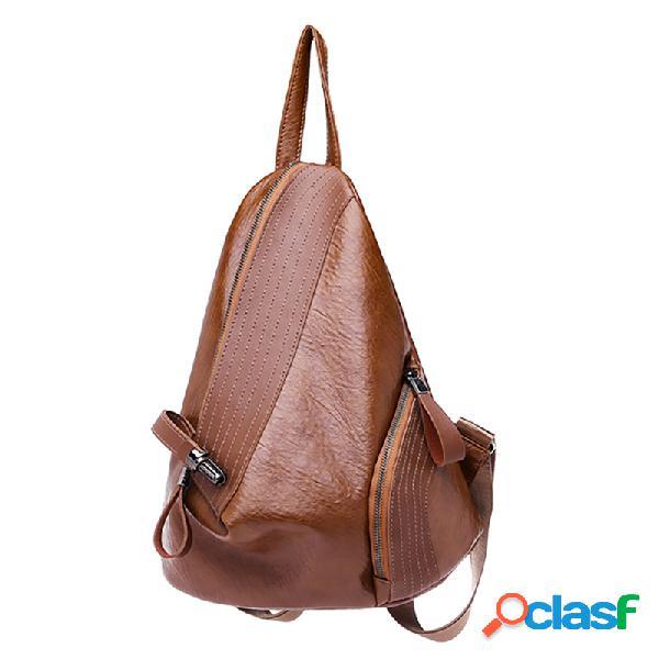 Mujer soft triángulo de cuero cerradura mochila de viaje diseñador