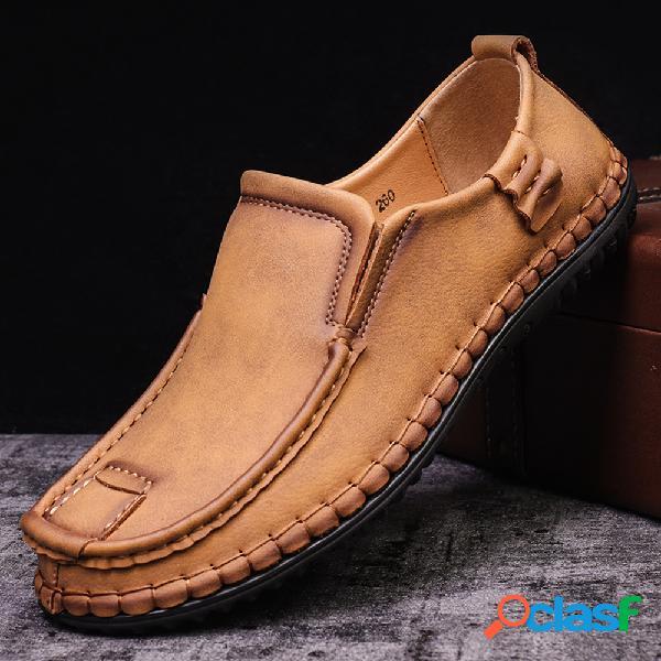 Menico costuras de cuero de microfibra para hombres soft mocasines antideslizantes